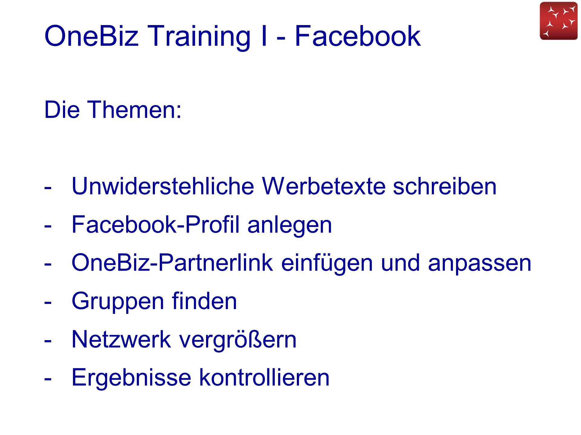 OneBiz Training I - Facebook