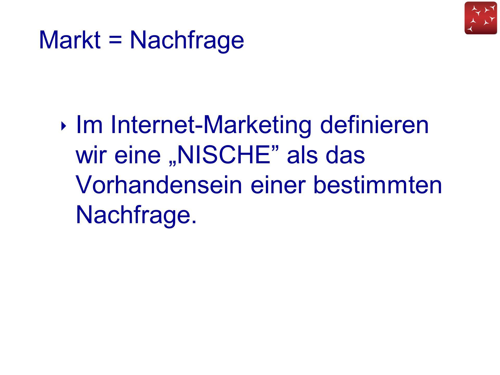 """Markt = Nachfrage Im Internet-Marketing definieren wir eine """"NISCHE als das Vorhandensein einer bestimmten Nachfrage."""