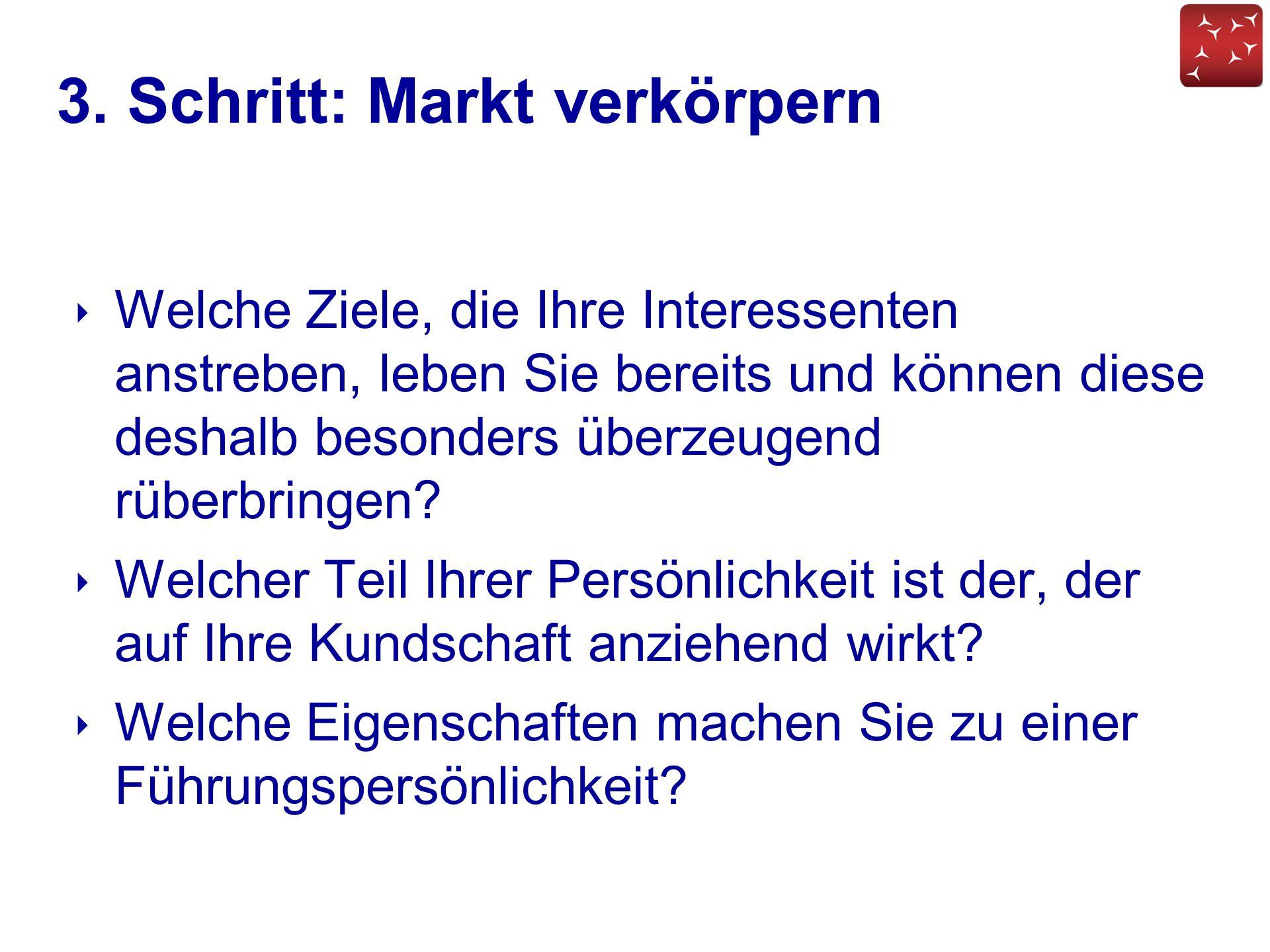 3. Schritt: Markt verkörpern