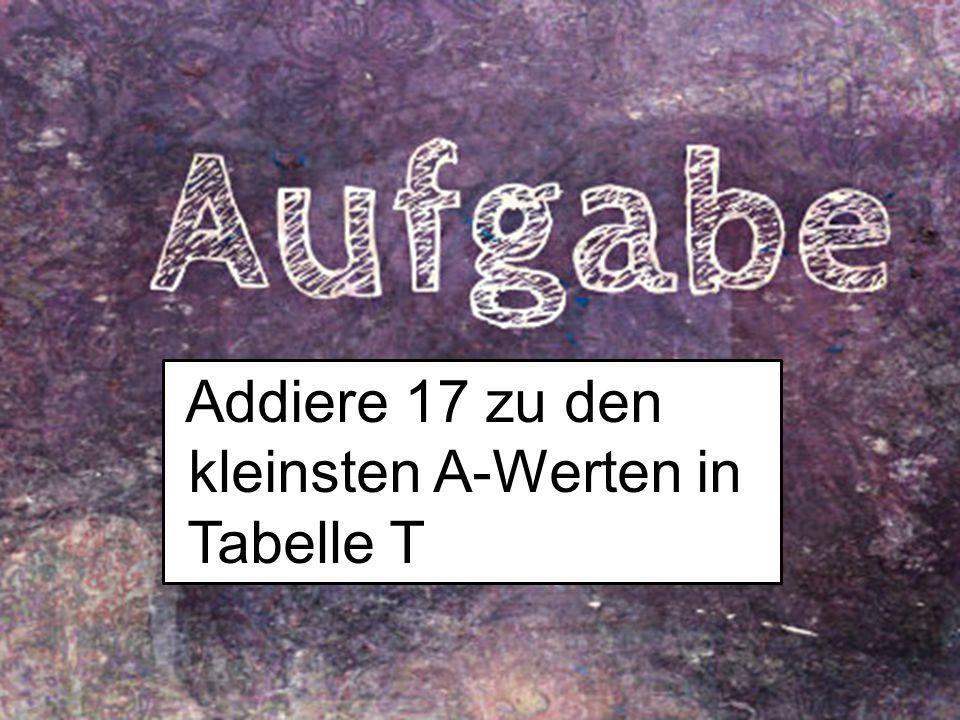 Addiere 17 zu den kleinsten A-Werten in Tabelle T