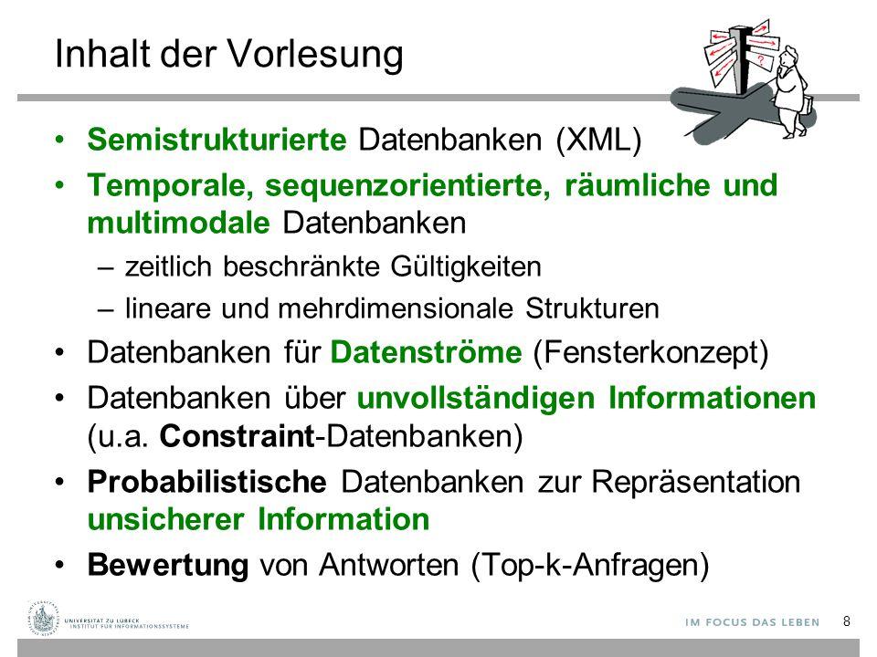 Inhalt der Vorlesung Semistrukturierte Datenbanken (XML)