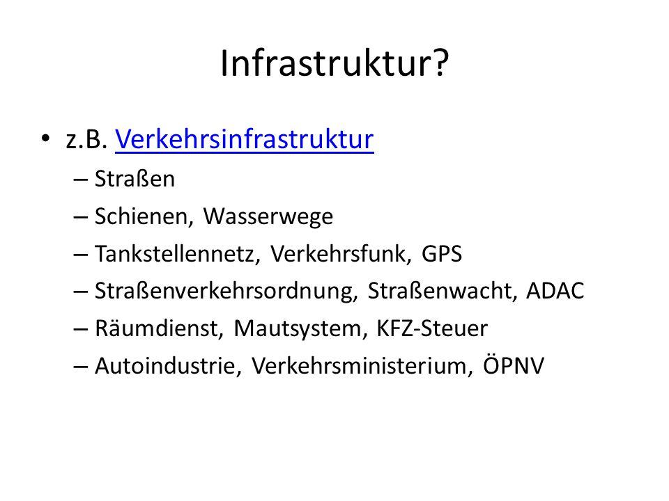 Infrastruktur z.B. Verkehrsinfrastruktur Straßen Schienen, Wasserwege