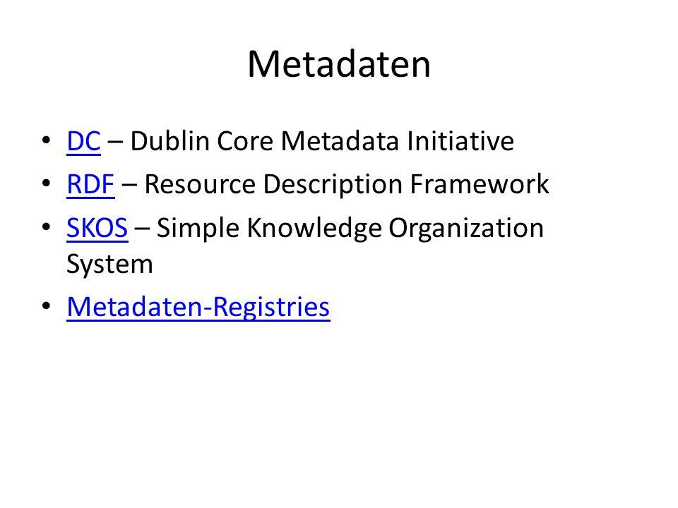 Metadaten DC – Dublin Core Metadata Initiative