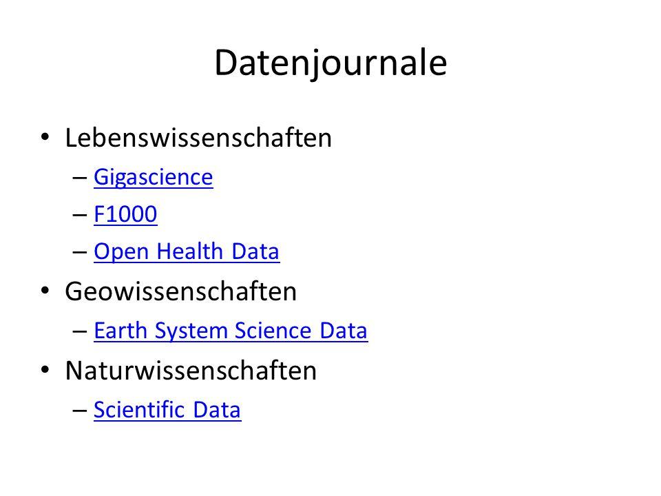 Datenjournale Lebenswissenschaften Geowissenschaften