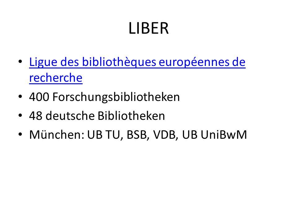 LIBER Ligue des bibliothèques européennes de recherche
