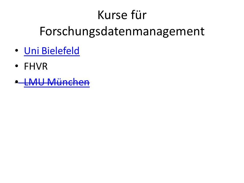 Kurse für Forschungsdatenmanagement