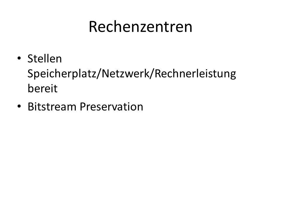 Rechenzentren Stellen Speicherplatz/Netzwerk/Rechnerleistung bereit
