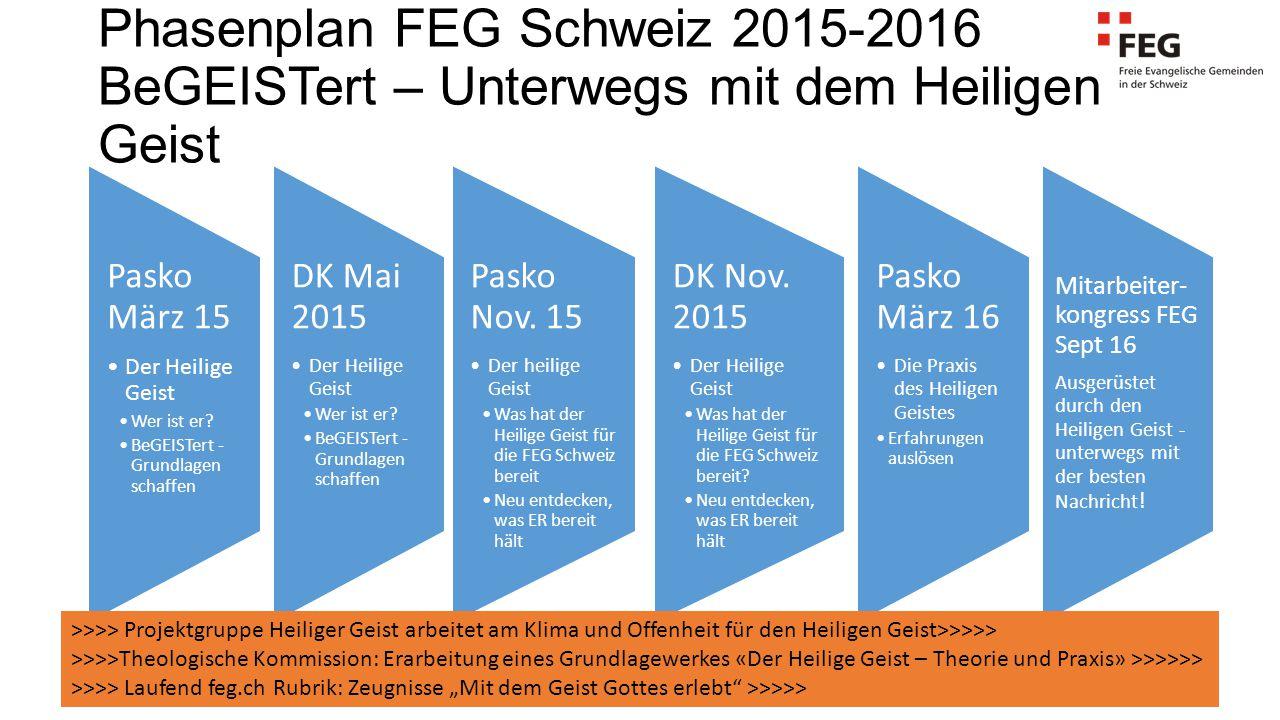 Phasenplan FEG Schweiz 2015-2016 BeGEISTert – Unterwegs mit dem Heiligen Geist