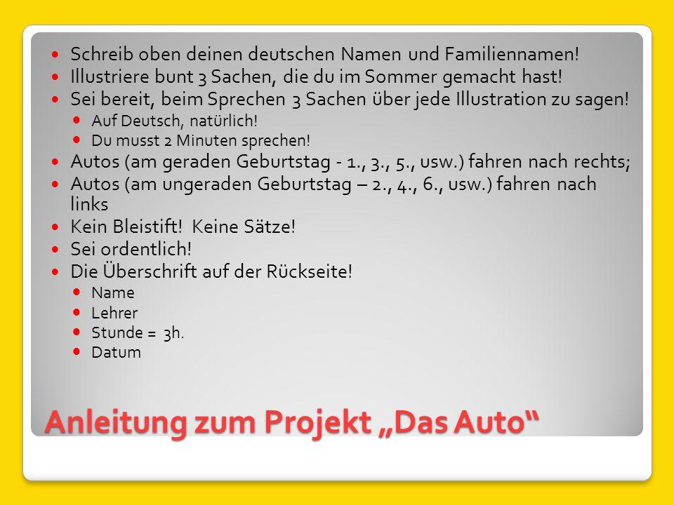 """Anleitung zum Projekt """"Das Auto"""