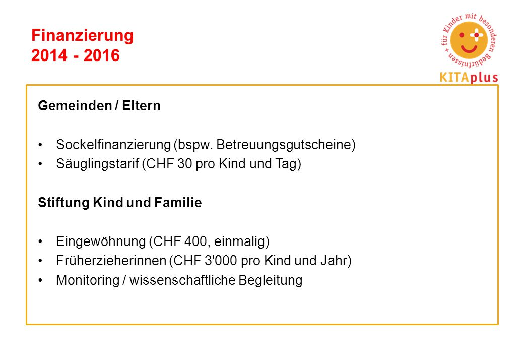 Finanzierung 2014 - 2016 Gemeinden / Eltern