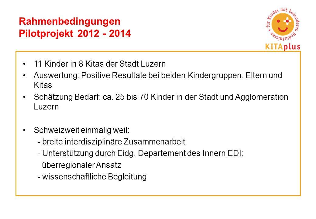 Rahmenbedingungen Pilotprojekt 2012 - 2014