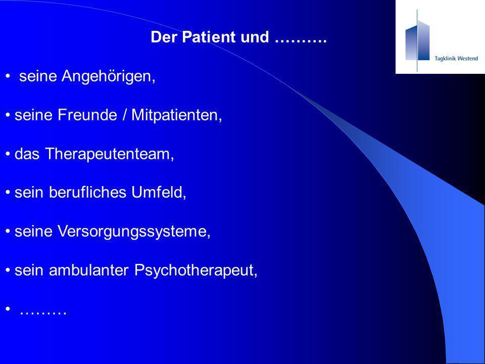 Der Patient und ………. seine Angehörigen, seine Freunde / Mitpatienten, das Therapeutenteam, sein berufliches Umfeld,