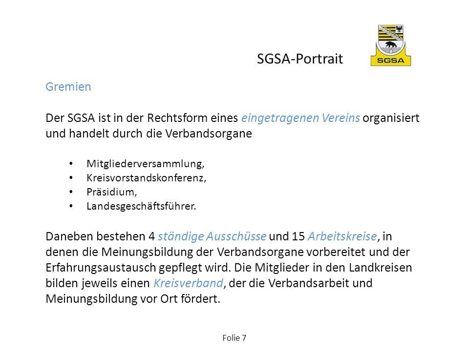 SGSA-Portrait Gremien