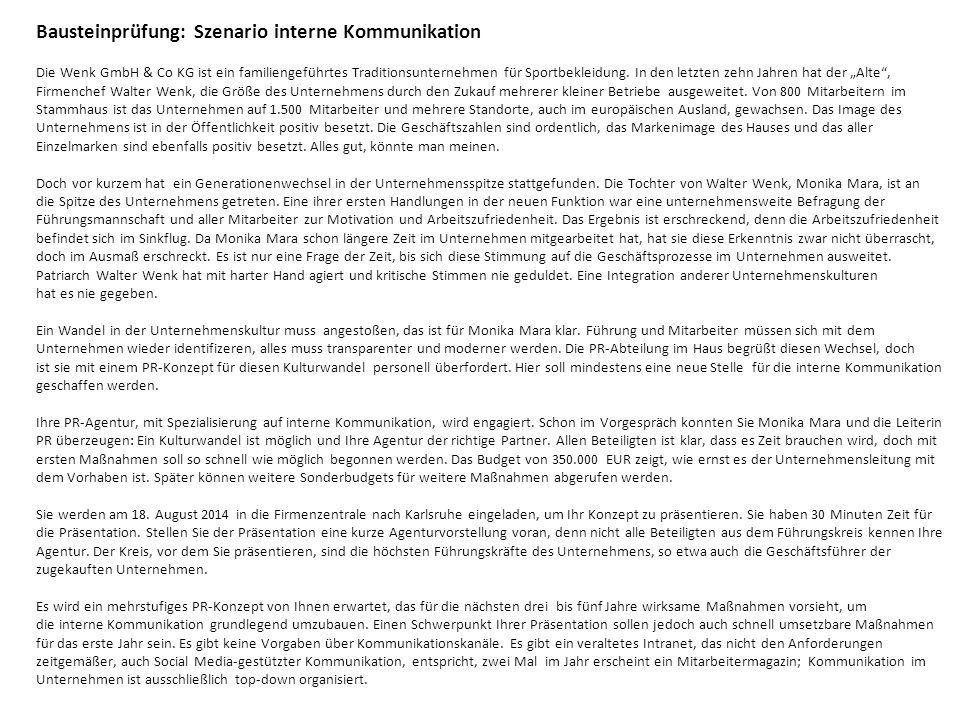 Bausteinprüfung: Szenario interne Kommunikation