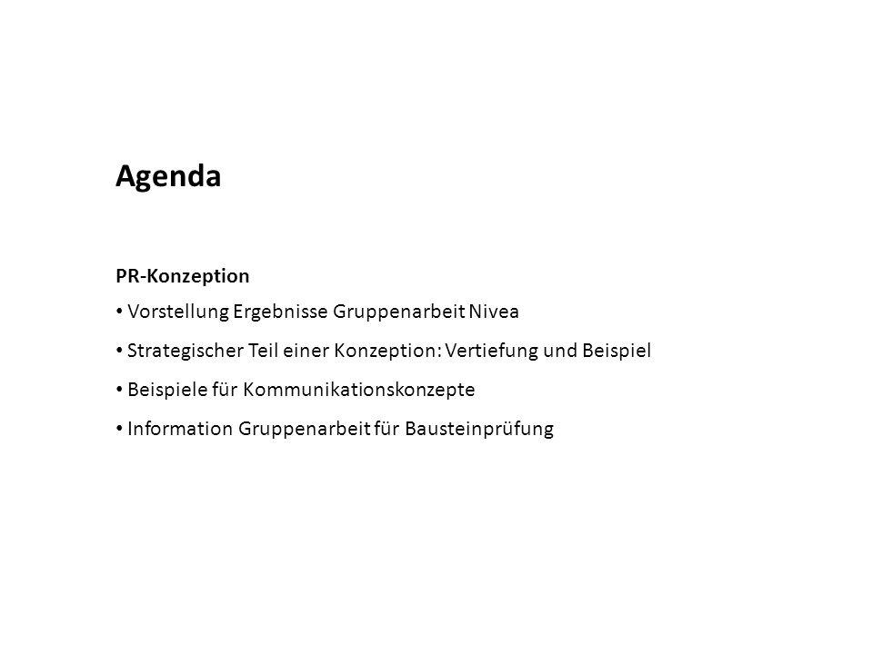 Agenda PR-Konzeption Vorstellung Ergebnisse Gruppenarbeit Nivea