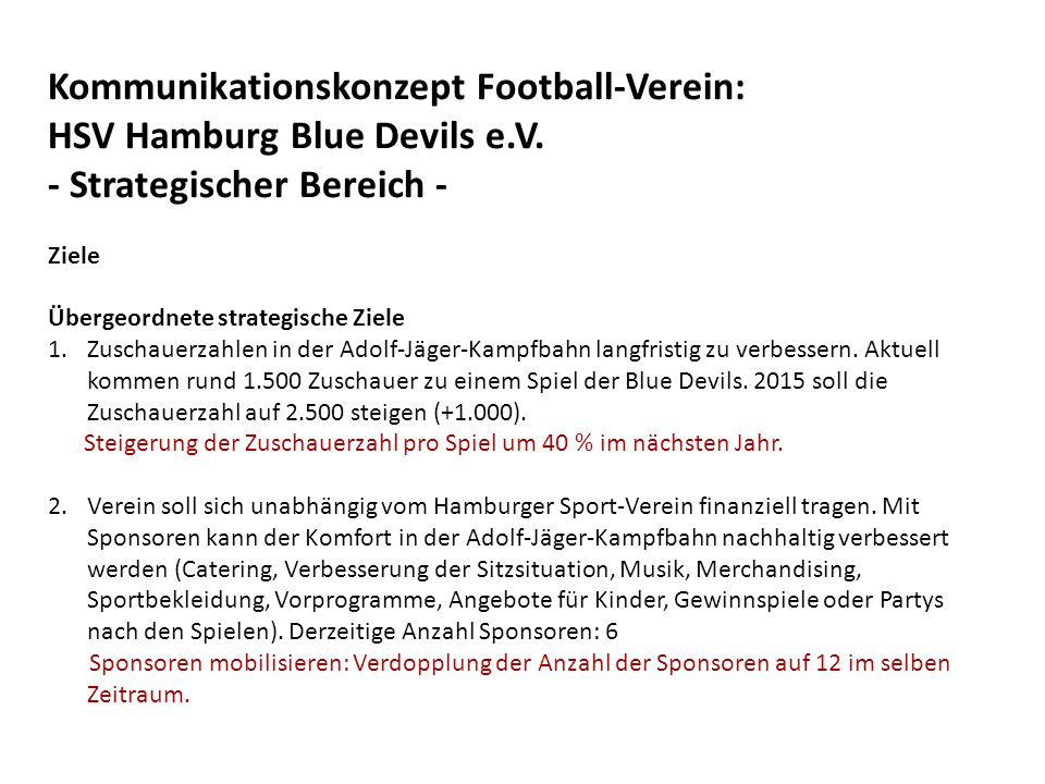 Kommunikationskonzept Football-Verein: HSV Hamburg Blue Devils e.V.