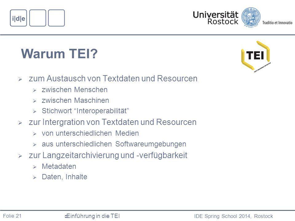 Warum TEI zum Austausch von Textdaten und Resourcen