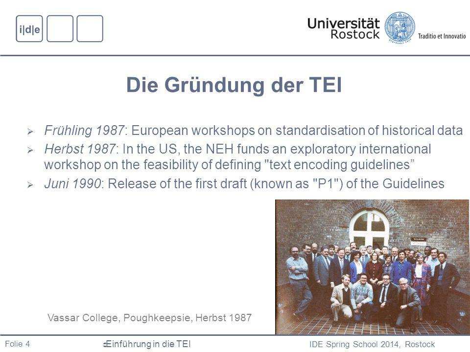 Die Gründung der TEI Frühling 1987: European workshops on standardisation of historical data.