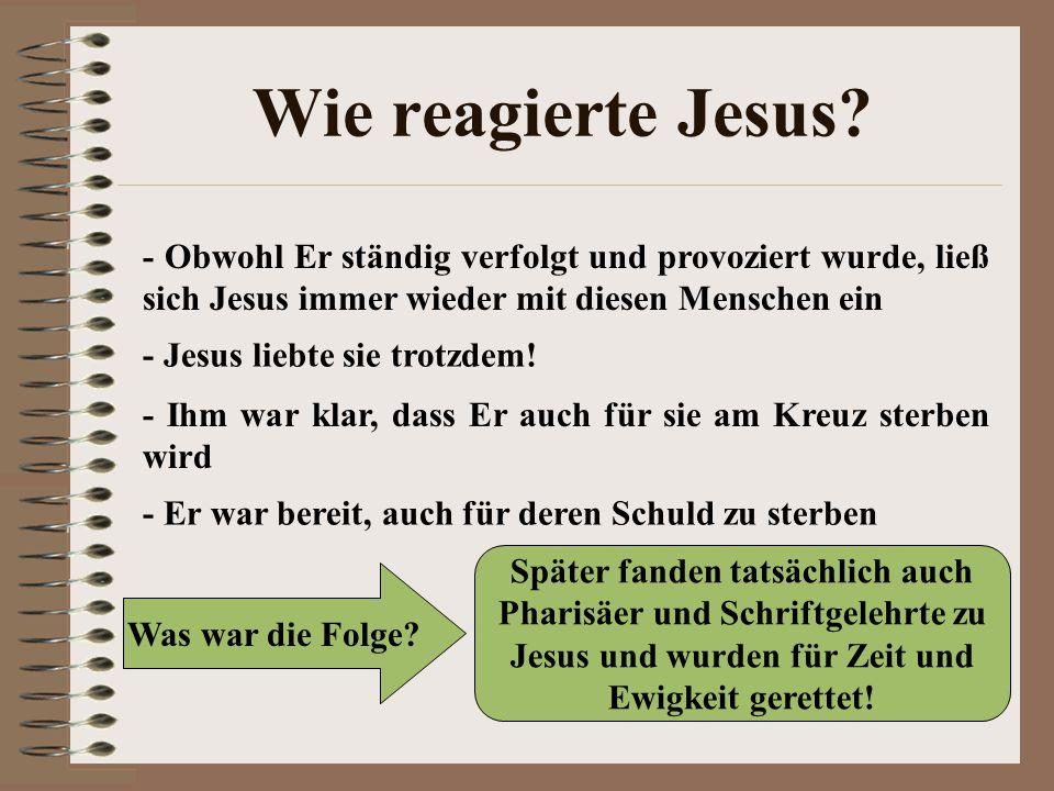 Wie reagierte Jesus - Obwohl Er ständig verfolgt und provoziert wurde, ließ sich Jesus immer wieder mit diesen Menschen ein.