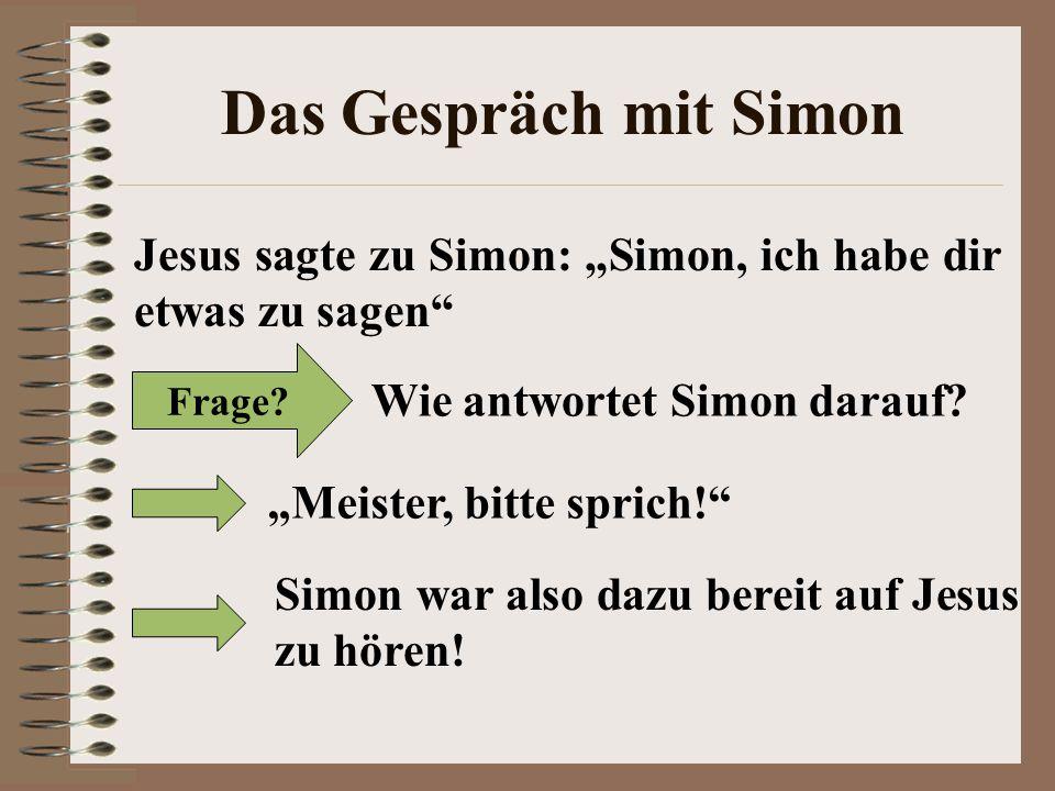 """Das Gespräch mit Simon Jesus sagte zu Simon: """"Simon, ich habe dir etwas zu sagen Frage Wie antwortet Simon darauf"""