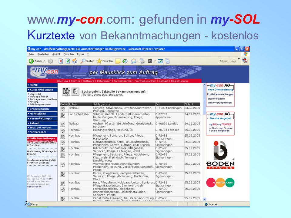 www.my-con.com: gefunden in my-SOL Kurztexte von Bekanntmachungen - kostenlos