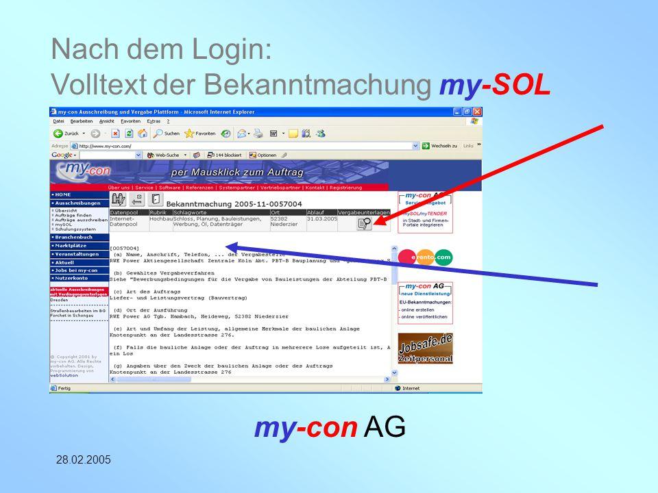 Nach dem Login: Volltext der Bekanntmachung my-SOL