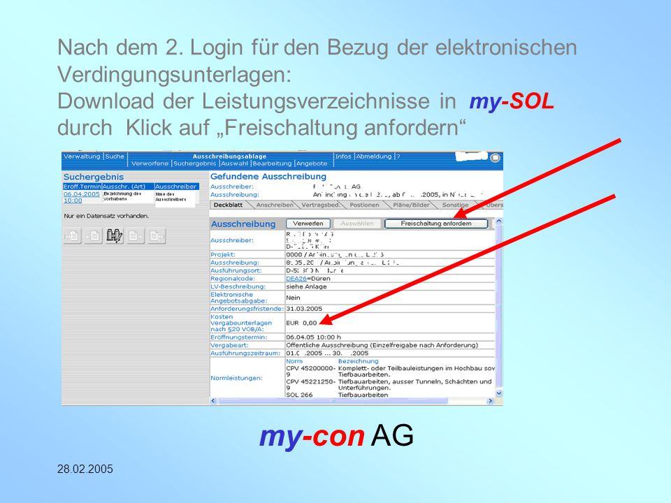 """Nach dem 2. Login für den Bezug der elektronischen Verdingungsunterlagen: Download der Leistungsverzeichnisse in my-SOL durch Klick auf """"Freischaltung anfordern"""