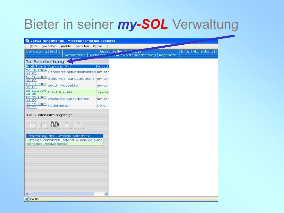 Bieter in seiner my-SOL Verwaltung