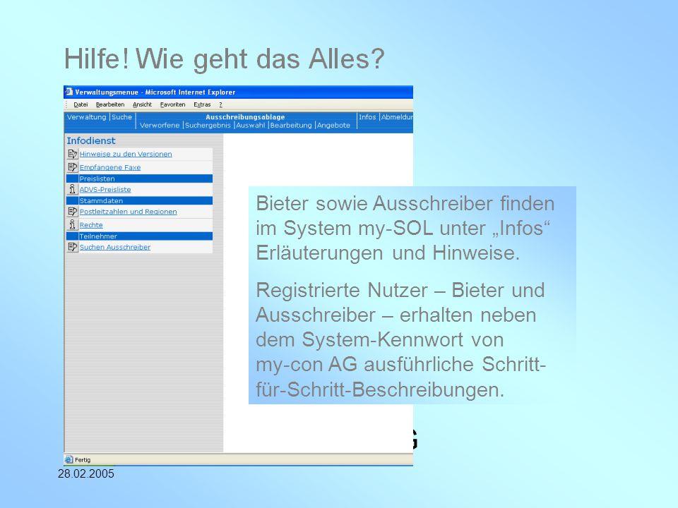 """Bieter sowie Ausschreiber finden im System my-SOL unter """"Infos Erläuterungen und Hinweise."""