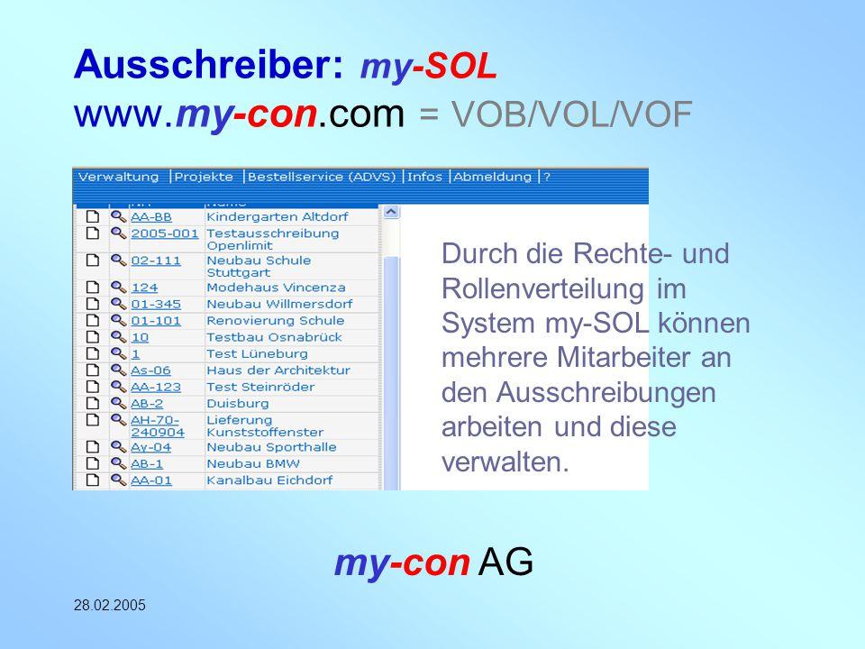 Ausschreiber: my-SOL www.my-con.com = VOB/VOL/VOF