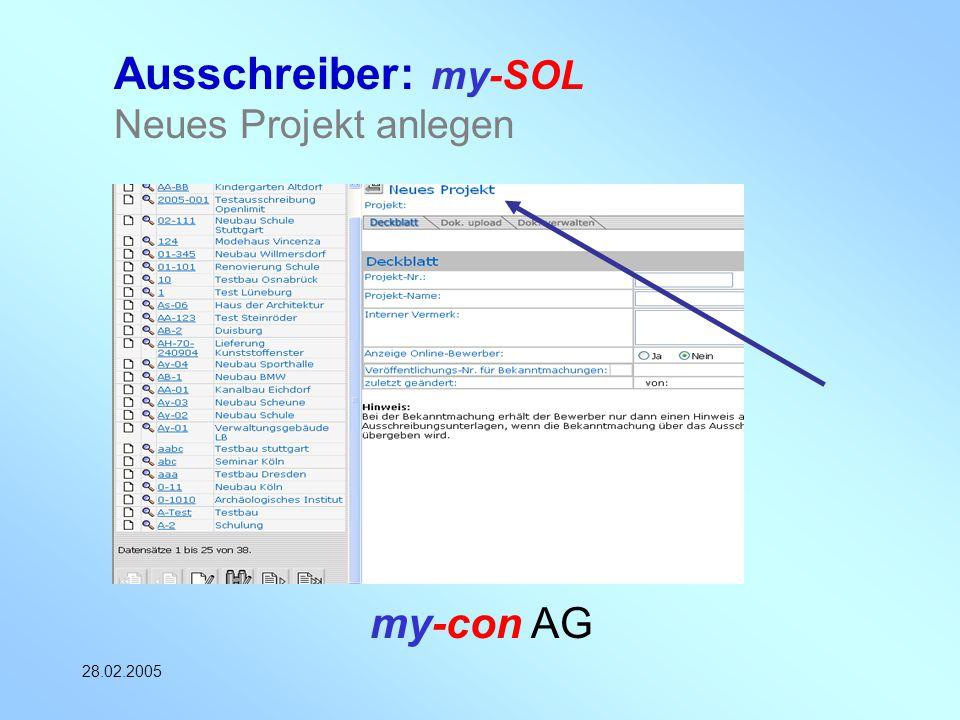 Ausschreiber: my-SOL Neues Projekt anlegen