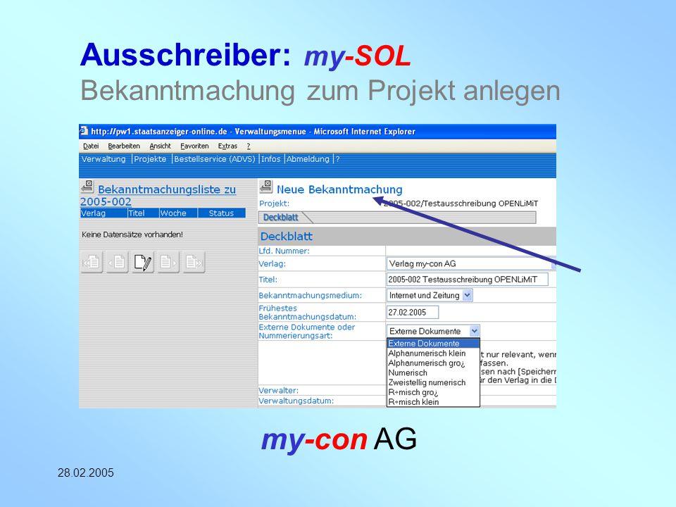 Ausschreiber: my-SOL Bekanntmachung zum Projekt anlegen