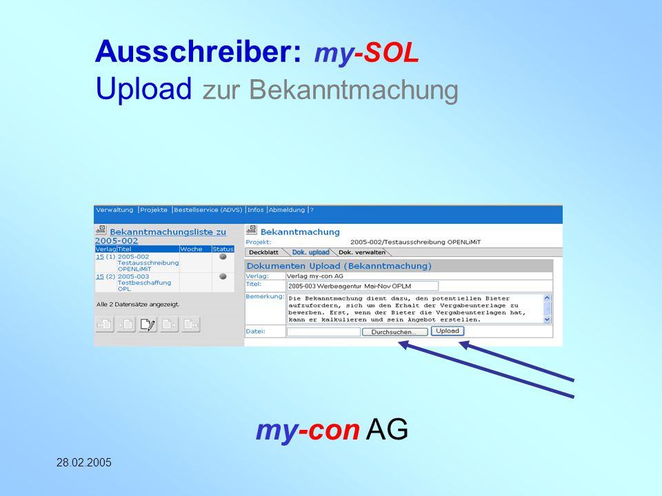 Ausschreiber: my-SOL Upload zur Bekanntmachung