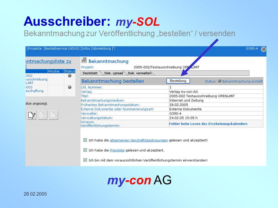 """Ausschreiber: my-SOL Bekanntmachung zur Veröffentlichung """"bestellen / versenden"""