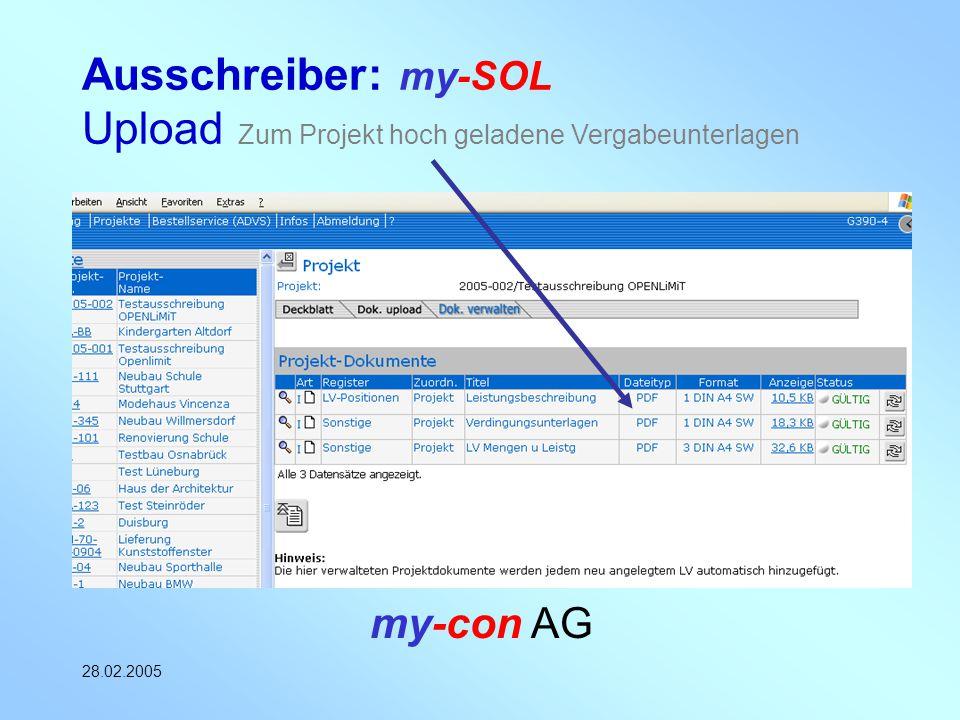 Ausschreiber: my-SOL Upload Zum Projekt hoch geladene Vergabeunterlagen