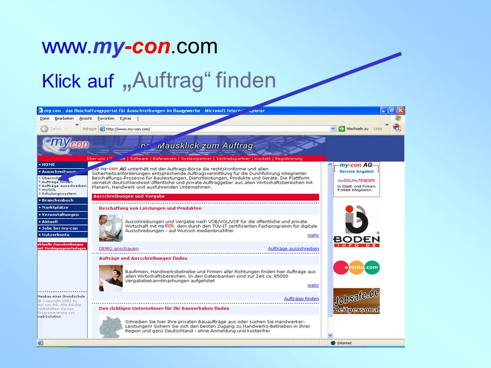 """www.my-con.com Klick auf """"Auftrag finden"""