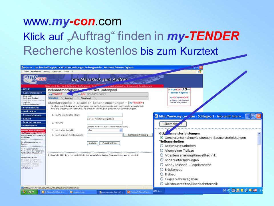 """www.my-con.com Klick auf """"Auftrag finden in my-TENDER Recherche kostenlos bis zum Kurztext"""