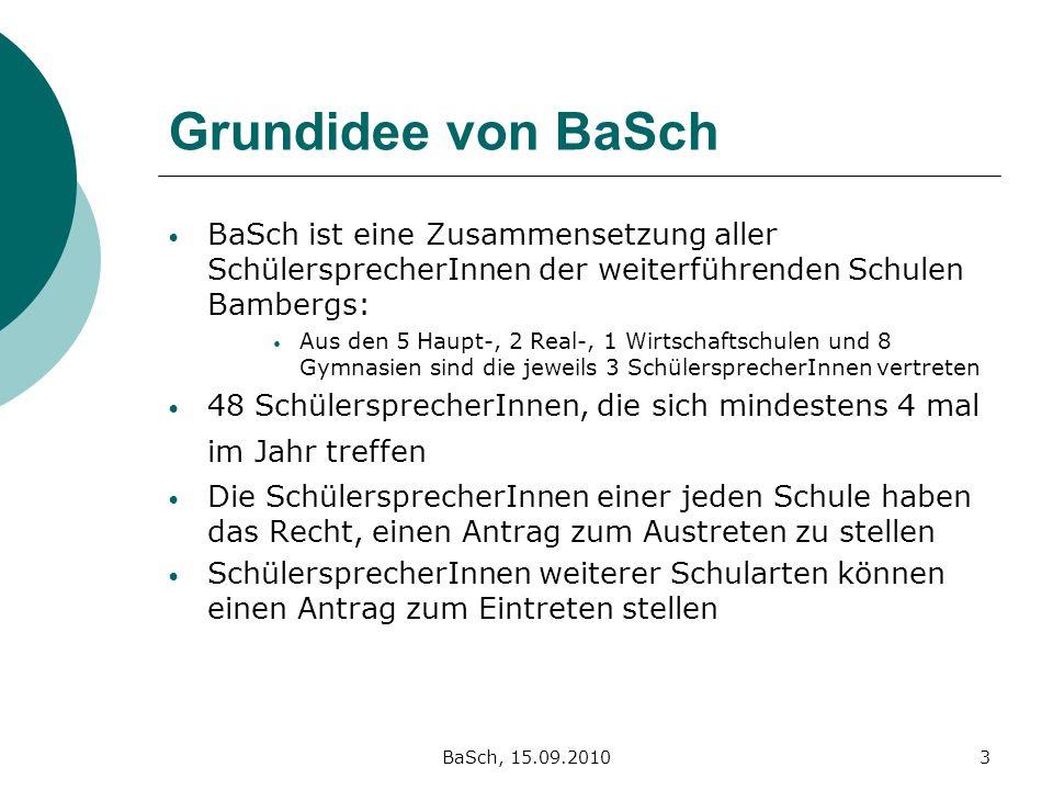 Grundidee von BaSch BaSch ist eine Zusammensetzung aller SchülersprecherInnen der weiterführenden Schulen Bambergs: