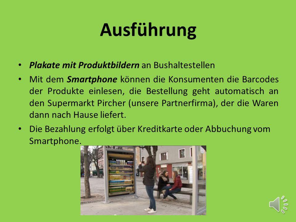 Ausführung Plakate mit Produktbildern an Bushaltestellen