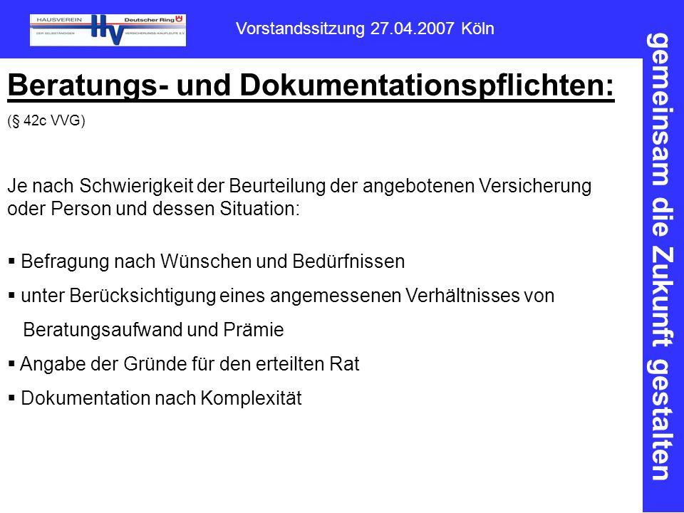 Beratungs- und Dokumentationspflichten: