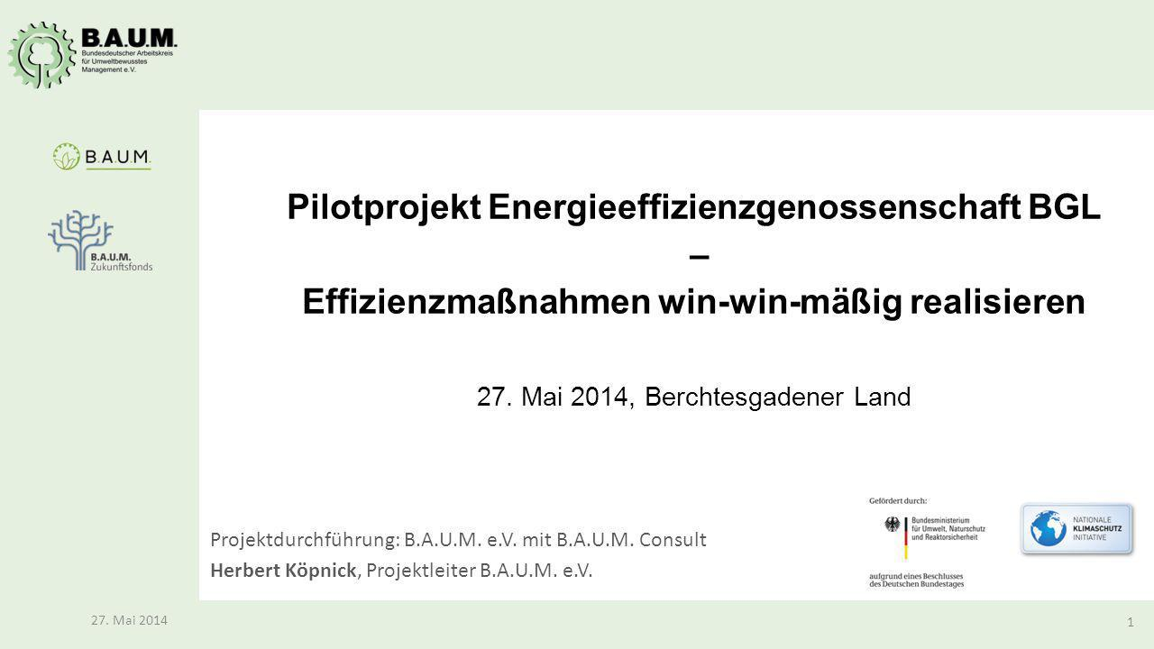 Pilotprojekt Energieeffizienzgenossenschaft BGL – Effizienzmaßnahmen win-win-mäßig realisieren 27. Mai 2014, Berchtesgadener Land