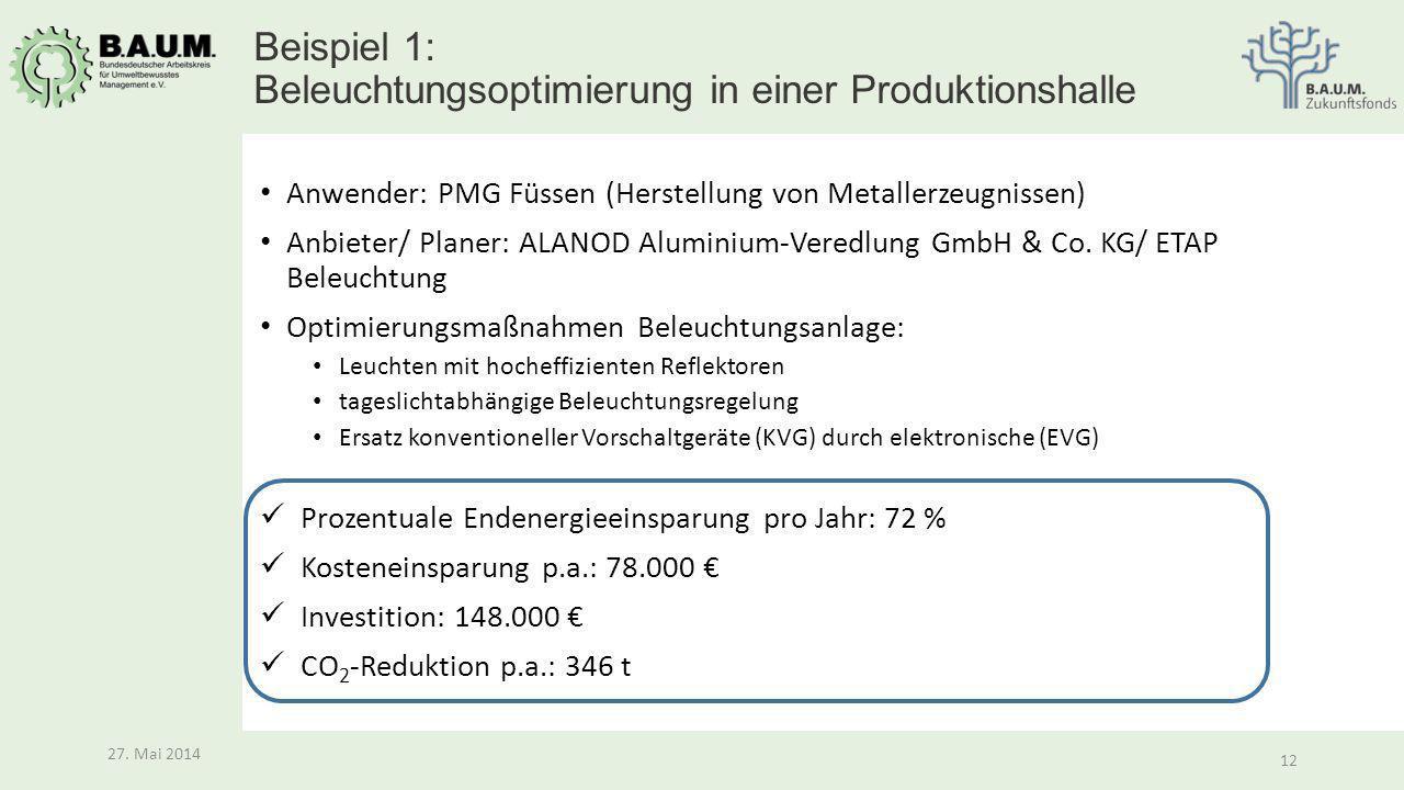 Beispiel 1: Beleuchtungsoptimierung in einer Produktionshalle