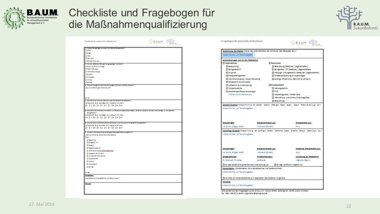 Checkliste und Fragebogen für die Maßnahmenqualifizierung