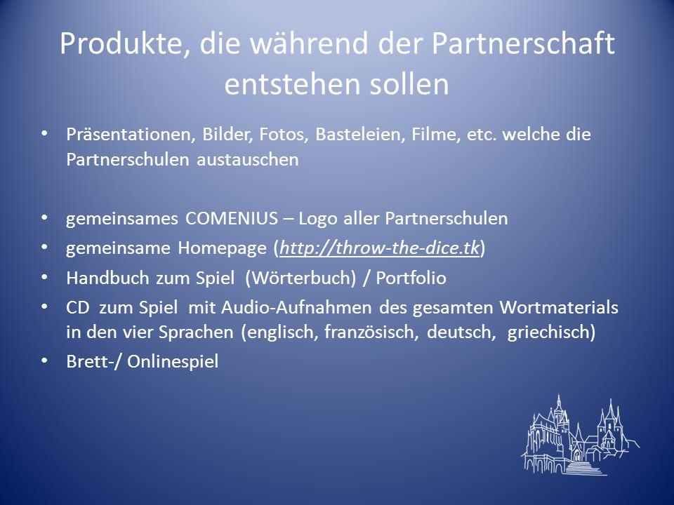 Produkte, die während der Partnerschaft entstehen sollen