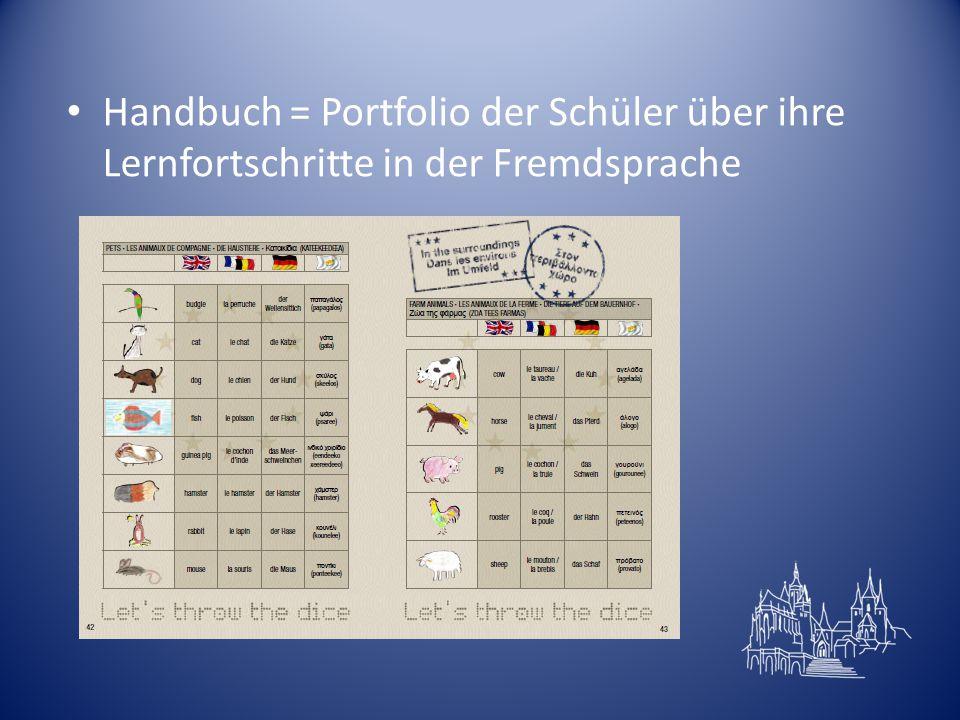 Handbuch = Portfolio der Schüler über ihre Lernfortschritte in der Fremdsprache