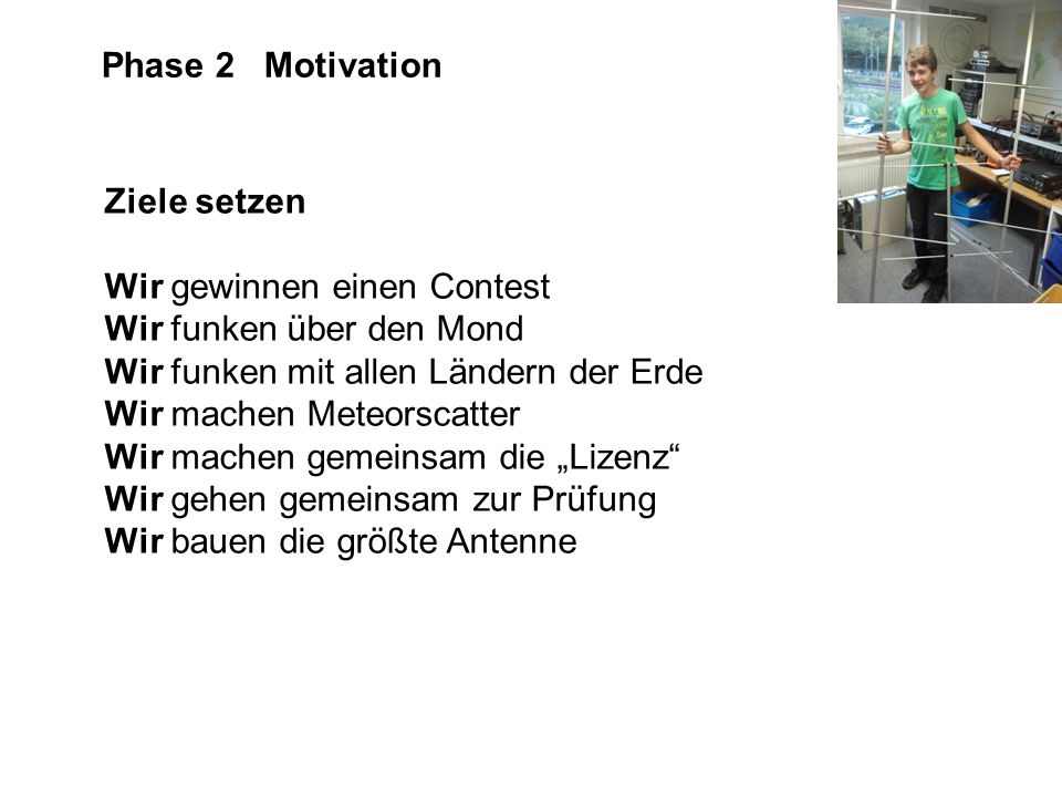 Phase 2 Motivation Ziele setzen. Wir gewinnen einen Contest. Wir funken über den Mond. Wir funken mit allen Ländern der Erde.