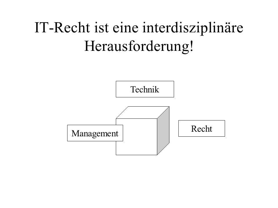 IT-Recht ist eine interdisziplinäre Herausforderung!