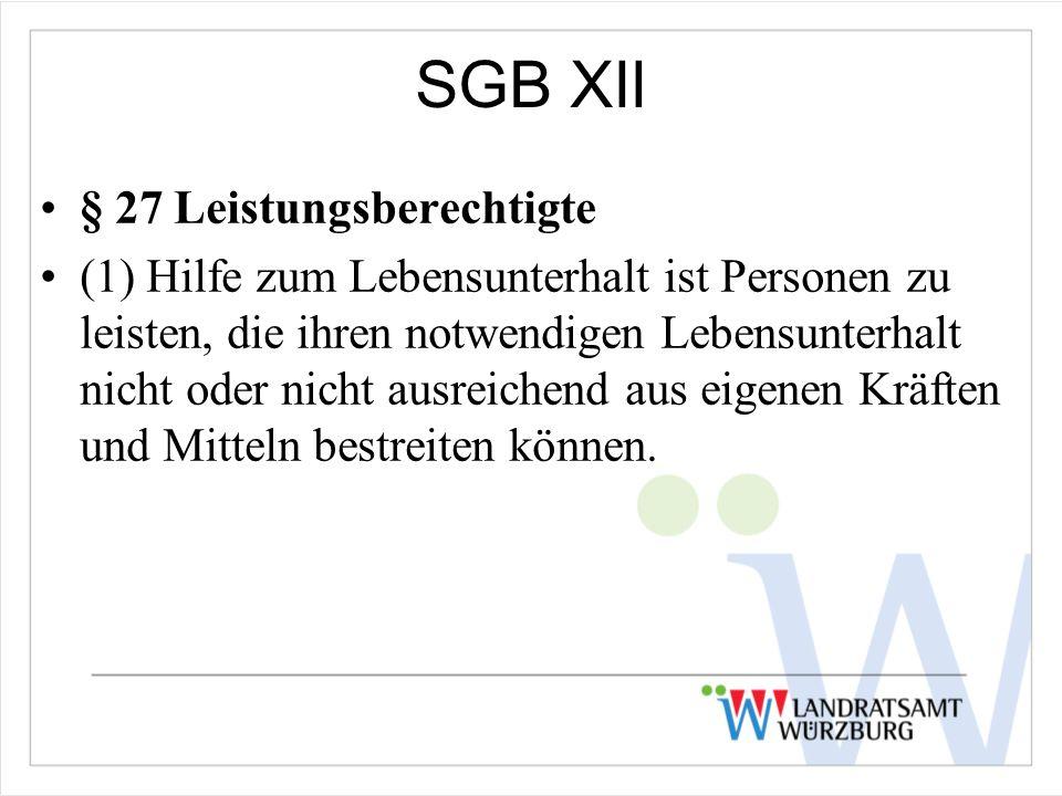 SGB XII § 27 Leistungsberechtigte