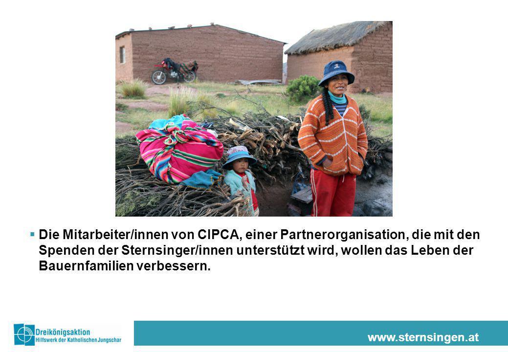 Die Mitarbeiter/innen von CIPCA, einer Partnerorganisation, die mit den Spenden der Sternsinger/innen unterstützt wird, wollen das Leben der Bauernfamilien verbessern.