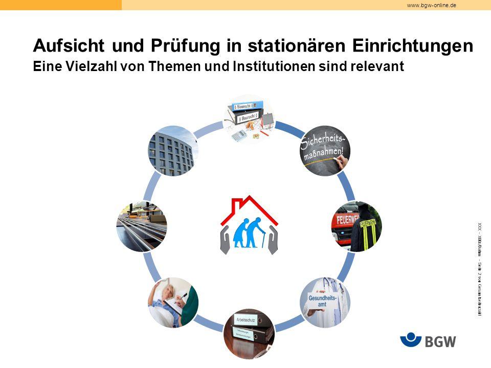 Aufsicht und Prüfung in stationären Einrichtungen Eine Vielzahl von Themen und Institutionen sind relevant